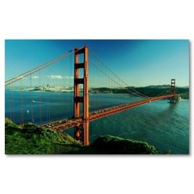 Αφίσα (γέφυρα, βουνό, θάλασσα, άμμος, ουρανός)